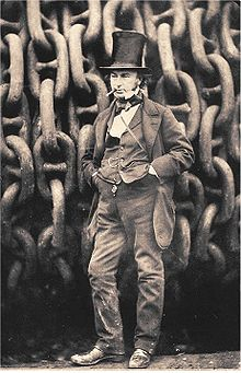 I K Brunel in front of large chains