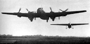 Horsa Glider towed by a Halifax